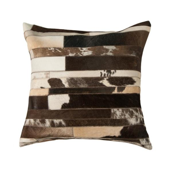 Torino Classic Large Madrid Cowhide Chocolate & White Geometric 22 in. x 22 in. Throw Pillow
