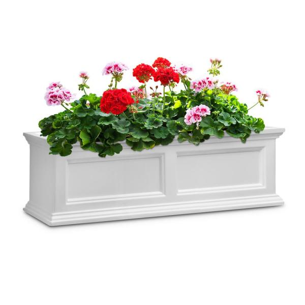 36 in. x 11 in. White Plastic Window Box