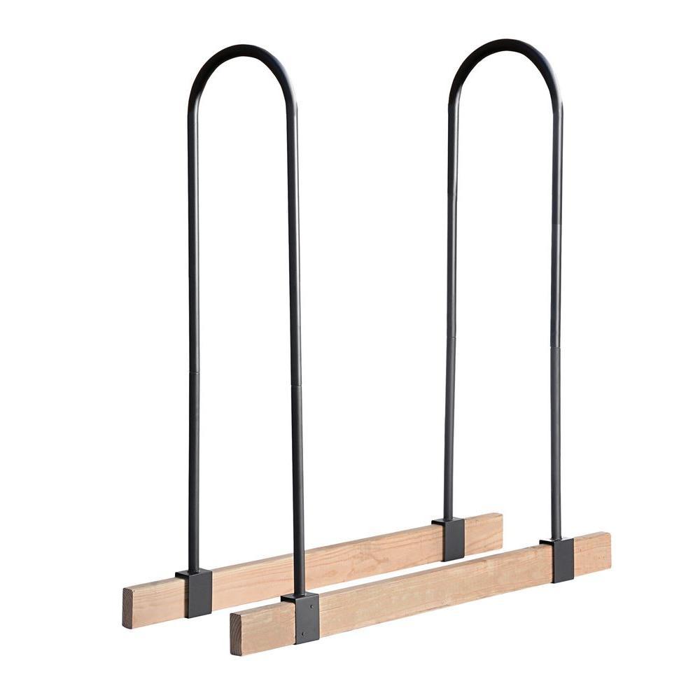 Adjustable Firewood Rack Kit with 2-Piece, High-Grade Steel Brackets, Customizable Design, and Wood Screws