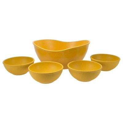 EVO Sustainable Goods Yellow Eco-Friendly Wood-Plastic Composite Serving Bowl Set (Set of 5)