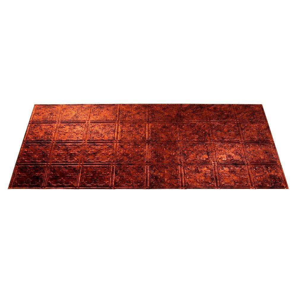 Fasade Traditional 10 2 ft. x 4 ft. Moonstone Copper Lay-in Ceiling Tile