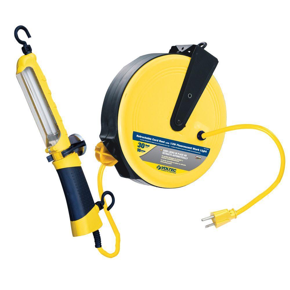 Professional Fluorescent Retractable Reel Garage Shop Work: Tasco 35 Ft. 16/3 SJT 13-Watt Fluorescent Angle