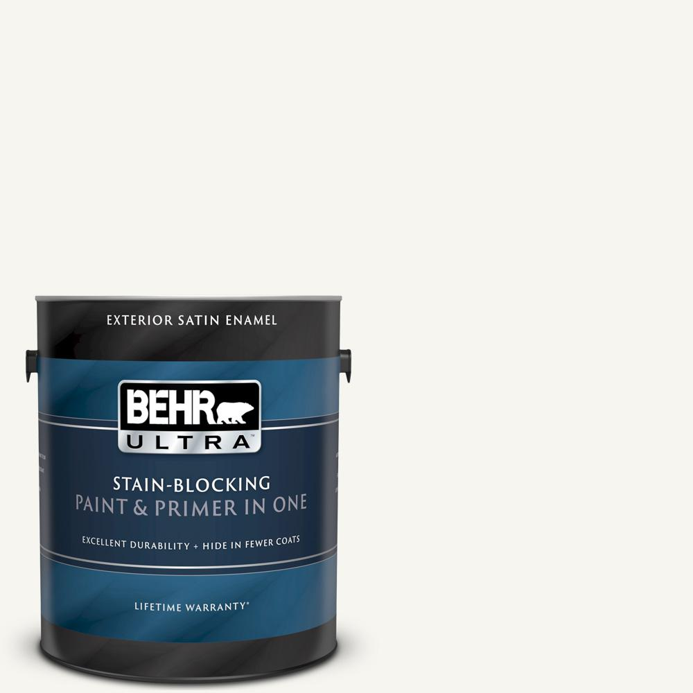 Behr Ultra 1 Gal Home Decorators Collection Hdc Wr16 01 Snow Day Satin Enamel Exterior Paint Primer 985001 The Home Depot