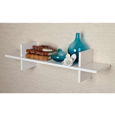 """31 in. x 8 in. White Laminated """"H"""" Shaped Floating Wall Shelf"""