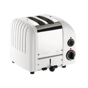 New Gen 2-Slice White Wide Slot Toaster with Crumb Tray