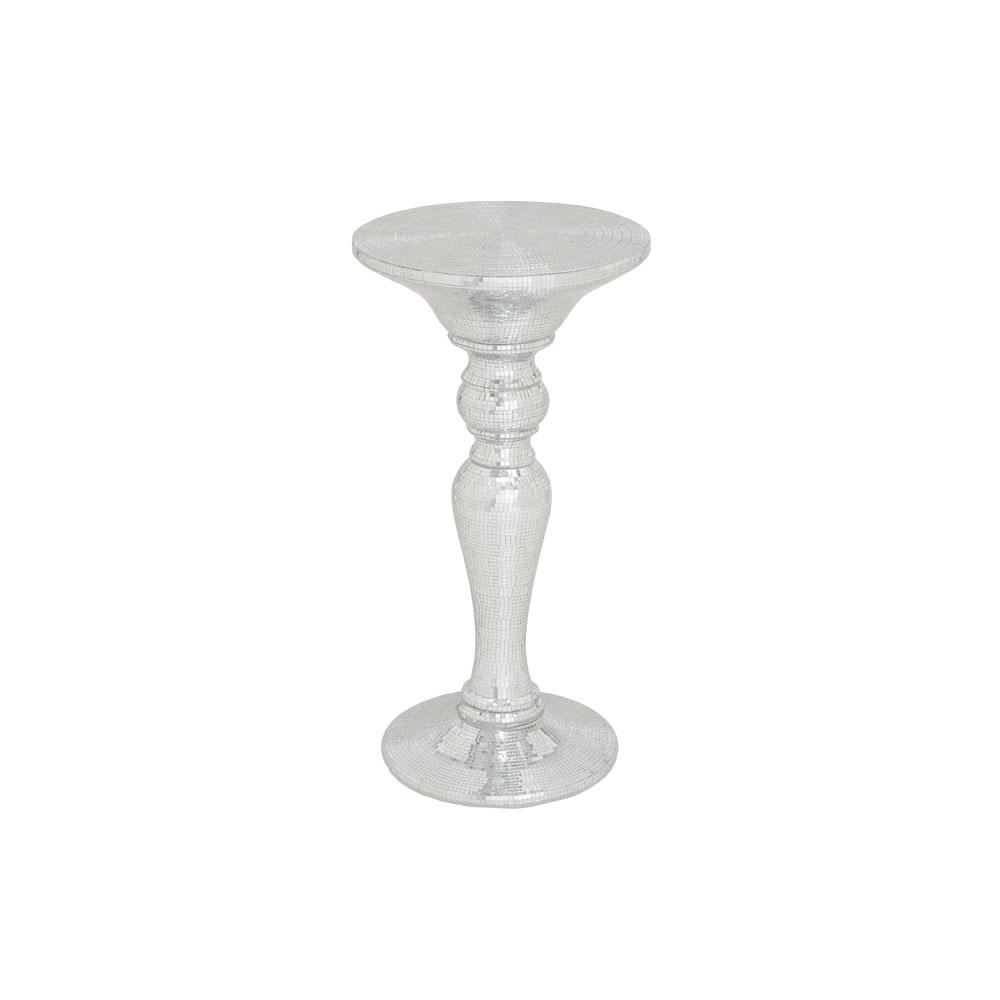 Silver Mirrored Mosaic Pedestal Accent Table