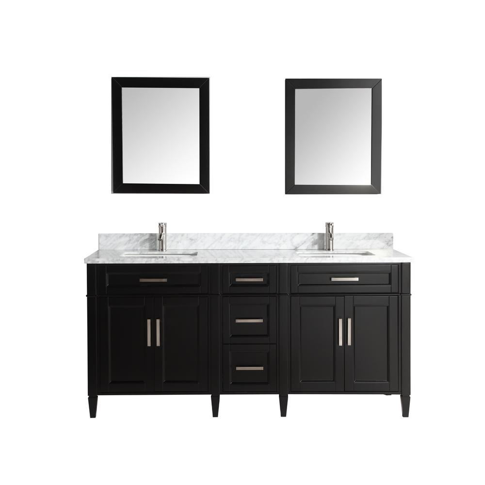 Vanity Art Savona 72 in. W x 22 in. D x 36 in. H Bath Vanity in Espresso with Vanity Top in White with White Basin and Mirror
