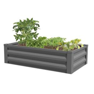 24 in. W x 48 in. L x 10 in. H Antique Iron Pre-Galvanized Powder Coated Steel Raised Garden Bed Planter