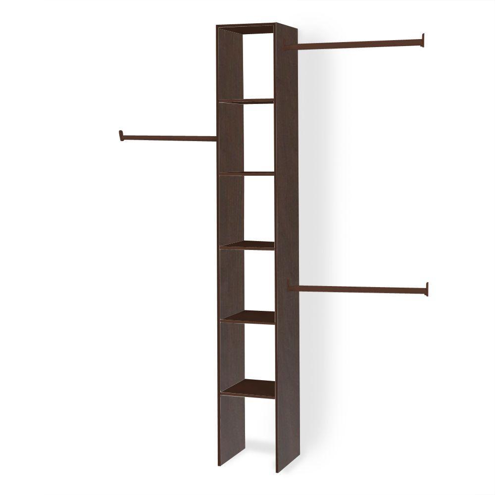 11.5 in. D x 12 in. W x 83 in. H Mocha Custom Wood Closet System Organizer