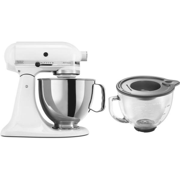 KitchenAid Artisan 5 Qt. 10-Speed White Stand Mixer with Flat Beater, 6-Wire Whip and Dough Hook Attachments