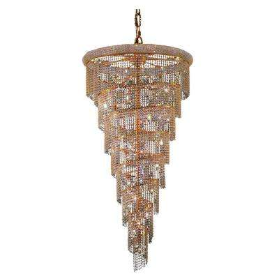 26-Light Gold Chandelier with Clear Crystal