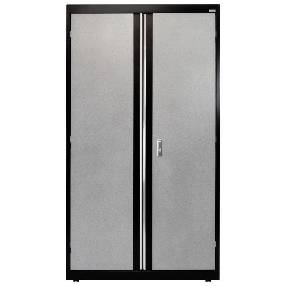 72 in. H x 18 in. D x 36 in. W Modular Steel Combo Cabinet Full Pull in Black/Multi-Granite