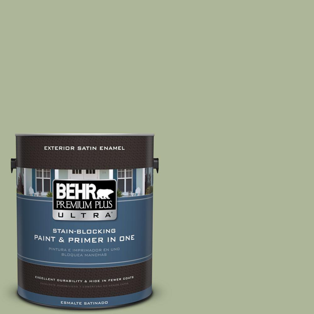 BEHR Premium Plus Ultra 1-gal. #PPU11-8 Moss Print Satin Enamel Exterior Paint