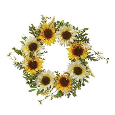 24 in. D Fabric Sunflower Twig Wreath