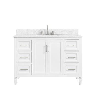 Stockham 49 in. W x 22 in. D Bath Vanity in White with Marble Vanity Top in Carrara White with White Basin
