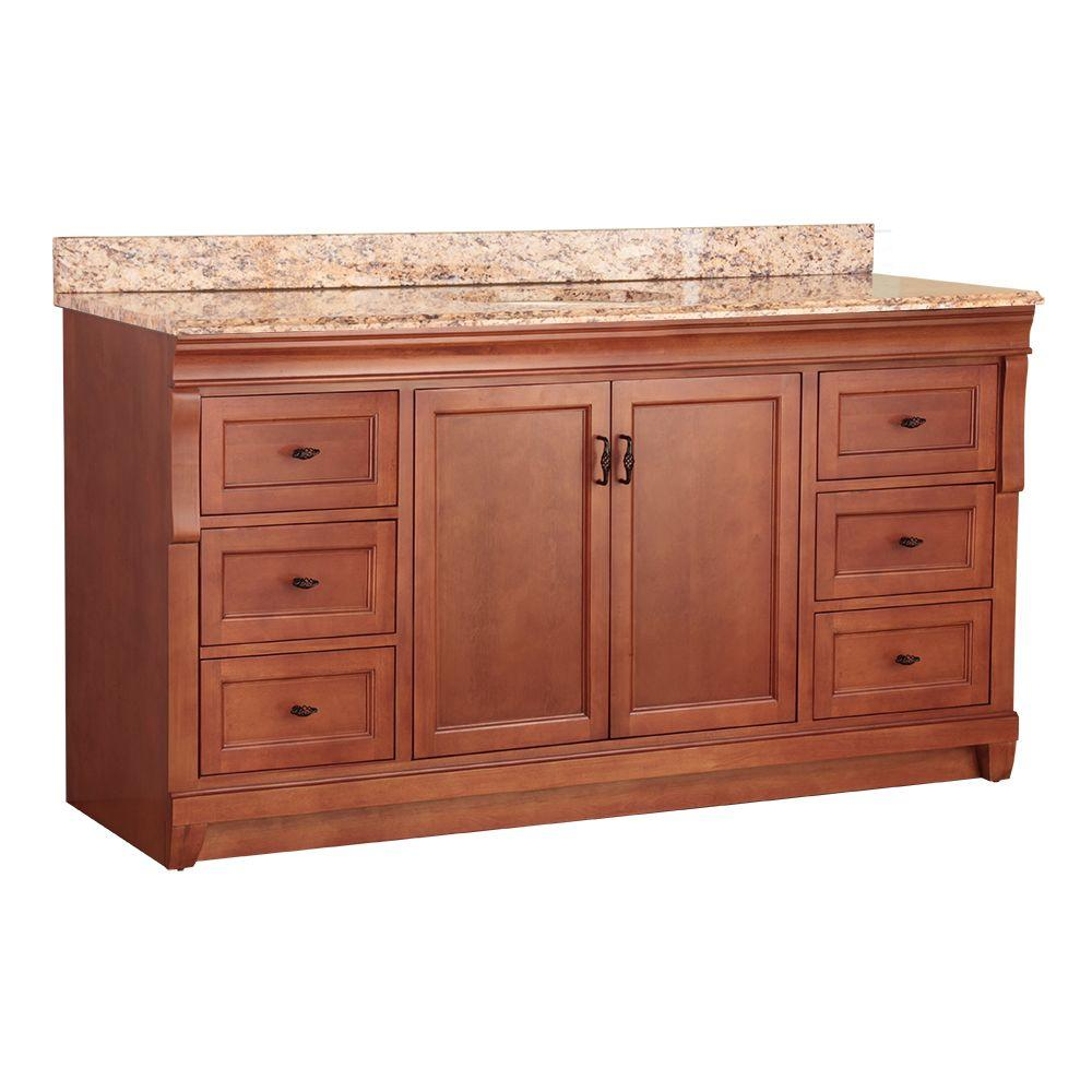 Foremost Naples 61 in. W x 22 in. D Bath Vanity in Warm Cinnamon with Stone Effects Vanity Top in Santa Cecilia