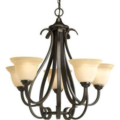 Torino 5-Light Forged Bronze Chandelier with Tea-Stained Glass Shade