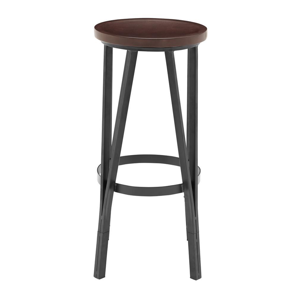 18 in. Adjustable Brown Wood Metal Barstool