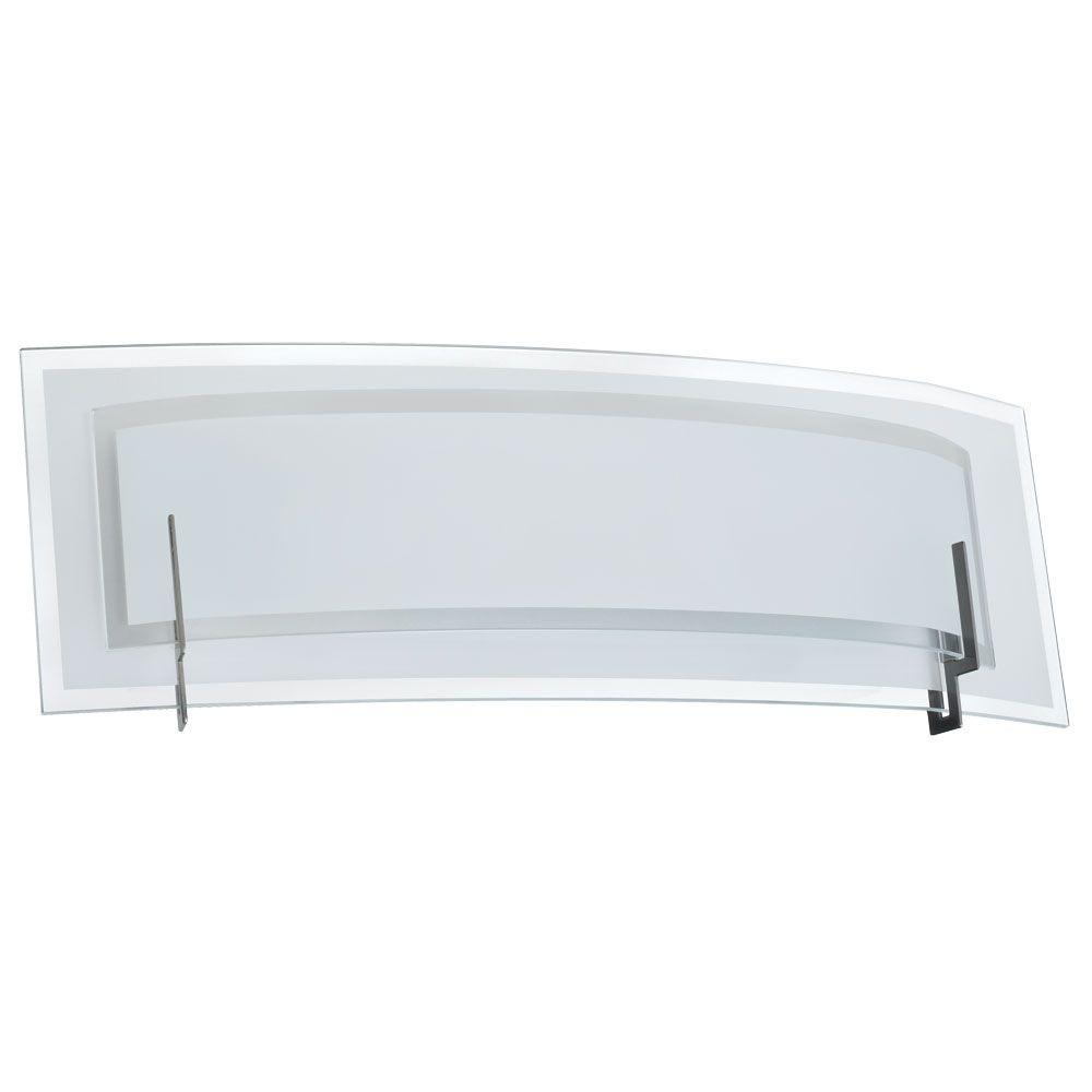 Radionic Hi Tech Nella 2-Light Satin Chrome and Clear Frosted Glass Vanity Light with Frosted ...