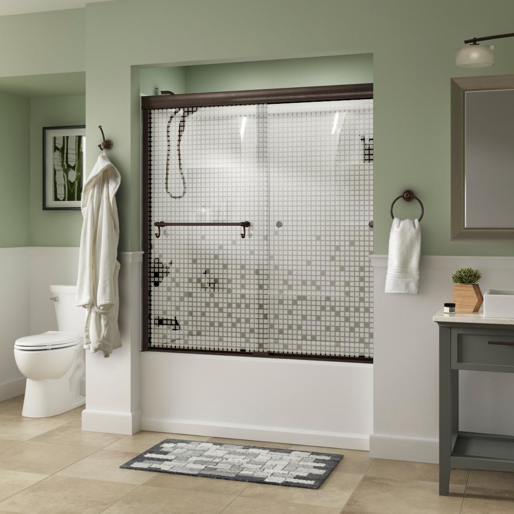 Portman 60 in. x 58-1/8 in. Semi-Frameless Traditional Sliding Bathtub Door in Bronze with Mozaic Glass