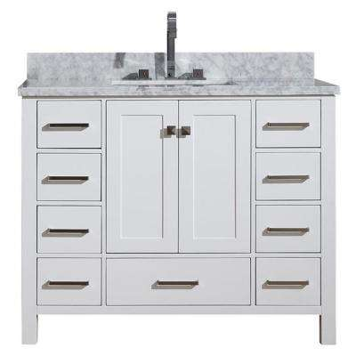 Cambridge 43 in. Bath Vanity in White with Marble Vanity Top in White with White Basin