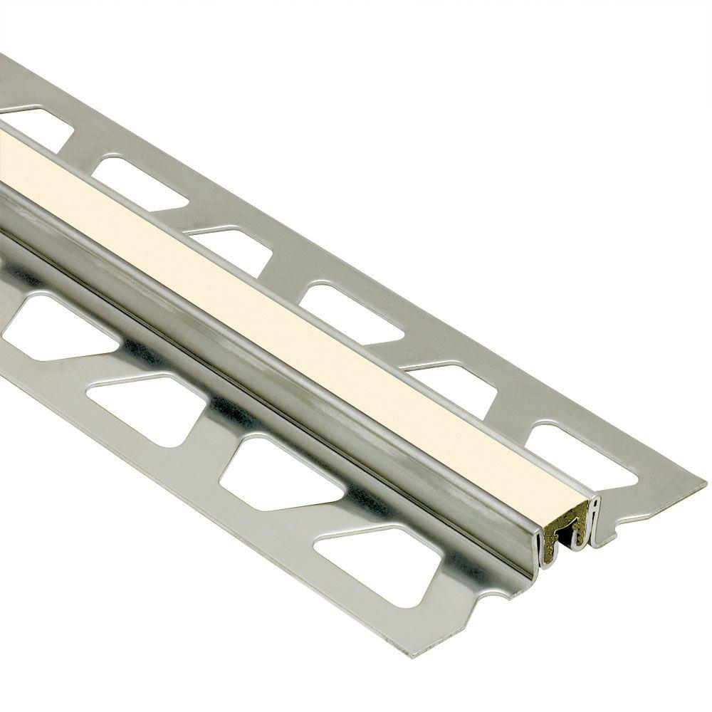 Schluter Dilex-KSN Stainless Steel with Sand Pebble Insert 1-3/16 in. x 8 ft. 2-1/2 in. Metal Movement Joint Tile Edging Trim