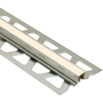 Dilex-KSN Stainless Steel with Sand Pebble Insert 1-3/16 in. x 8 ft. 2-1/2 in. Metal Movement Joint Tile Edging Trim