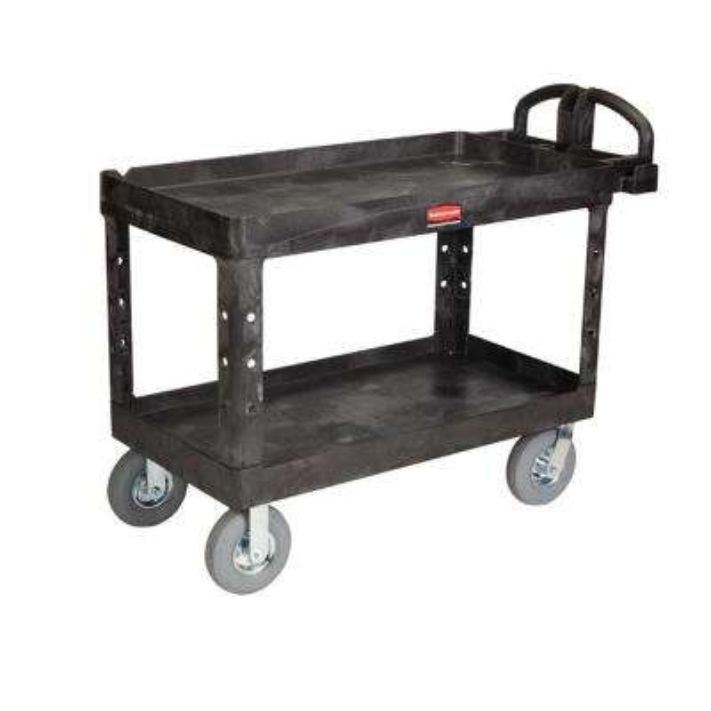 Heavy Duty Black 2-Shelf Utility Cart with Lipped Shelf in Large