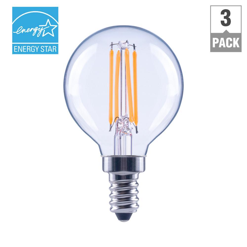 40-Watt Equivalent G16.5 E12 Base Dimmable Clear Filament LED Light Bulb, Soft White (3-Pack)