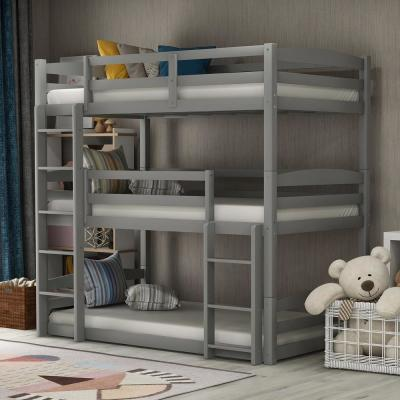 Gray Twin Size Triple Wood Bunk Bed