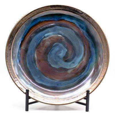 Patina Storm Swirled Plate with Stand