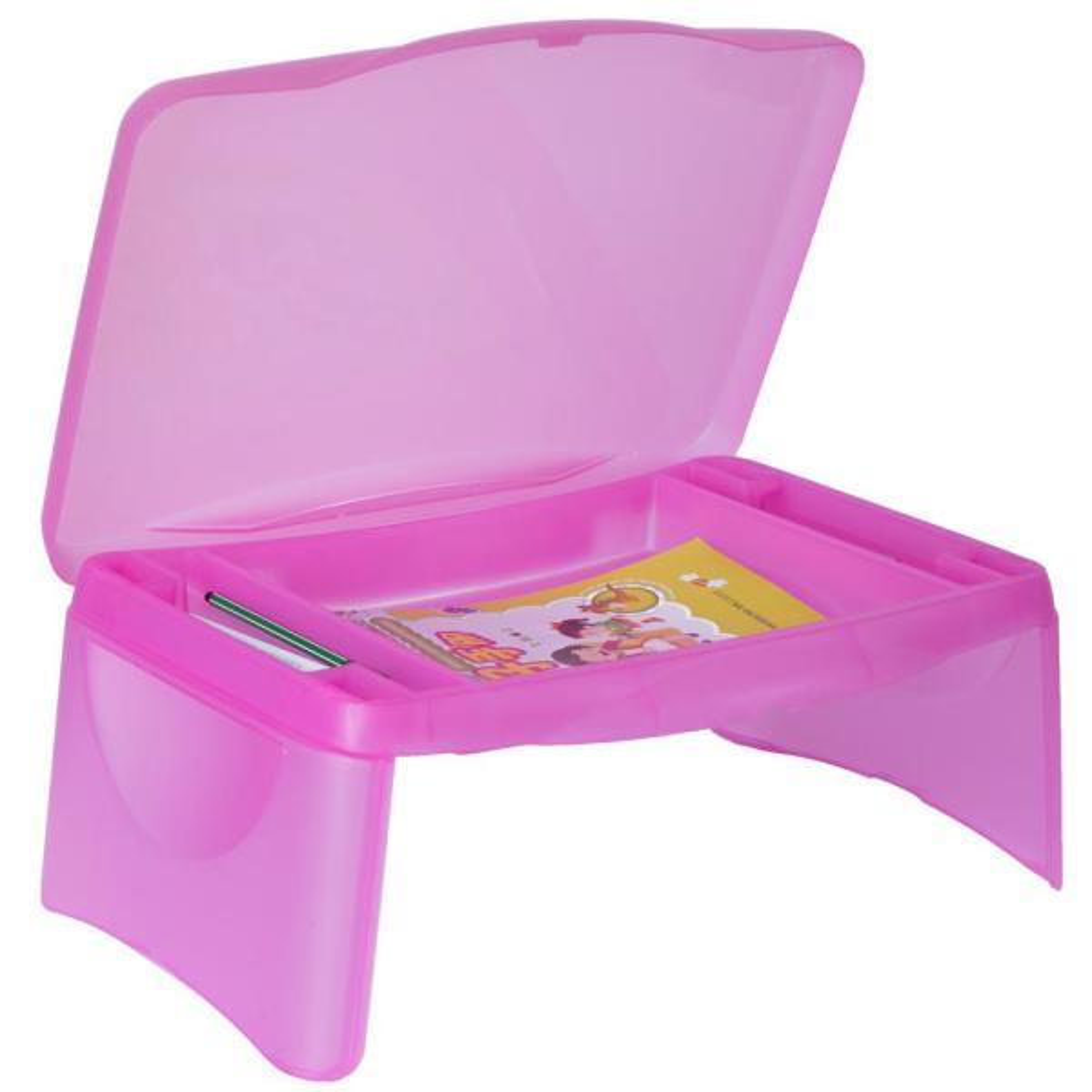 Basicwise Pink Kids Portable Translucent Plastic Lap Tray QI003429.P