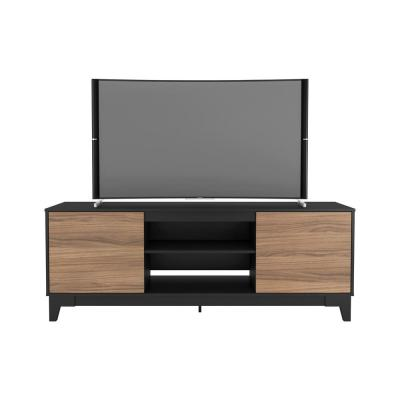 Rhapsody 71 in. Nutmeg and Black Engineered Wood TV Stand Fits TVs Up to 80 in. with Storage Doors