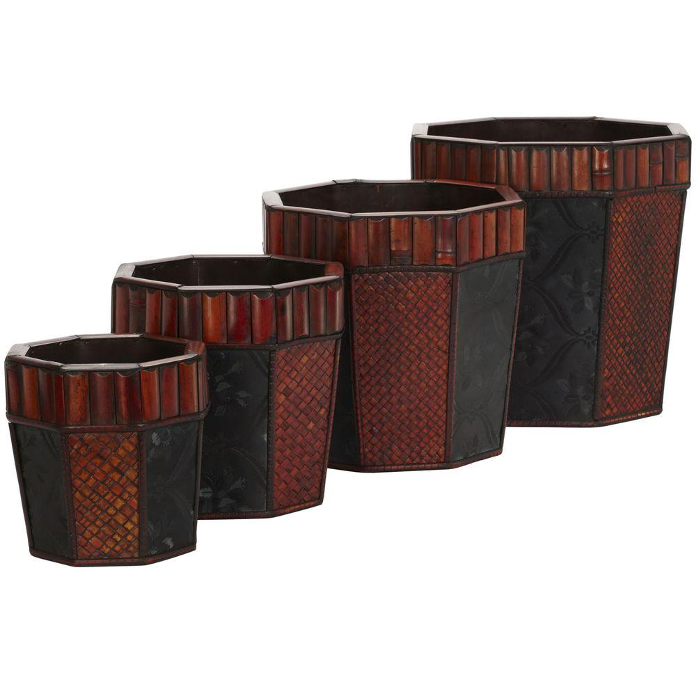 Nearly Natural 14 in. H Burgundy Bamboo Octagon Decorative Planters (Set of 4)