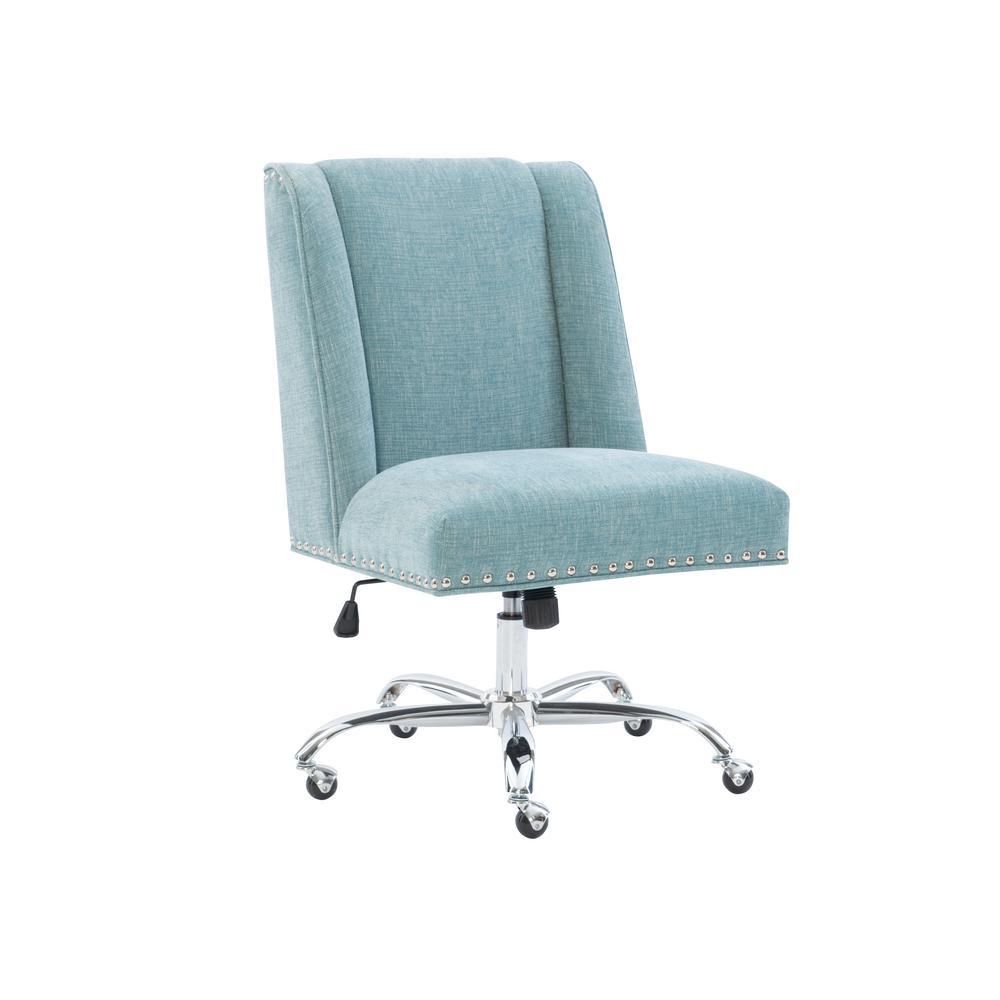 Linon Home Decor Sinclair Dark Blue Office Chair With Dark Walnut Wood Base 178403dkblu01u The Home Depot