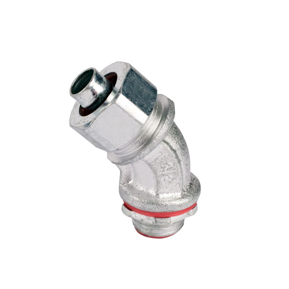 1 in. 45 Degree Insulated Metal Liquidtight Connector (10 per Case)