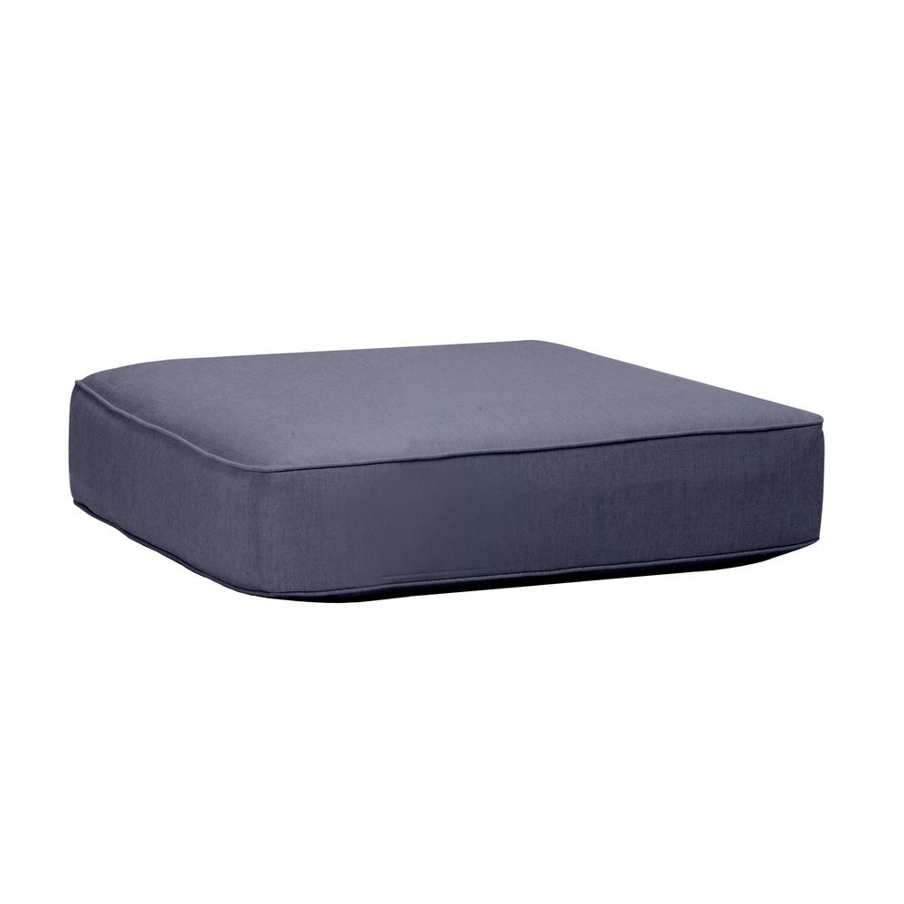 Commercial Grade Outdoor Ottoman Cushion in Sunbrella Canvas Navy