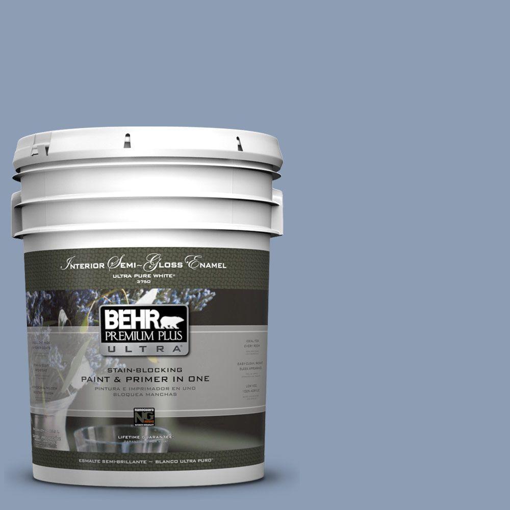 BEHR Premium Plus Ultra 5-gal. #PMD-72 Periwinkle Dusk Semi-Gloss Enamel Interior Paint