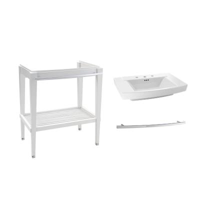 Townsend 30 in. Bath Washstand in White with Fireclay Vanity Top in White with White Basin