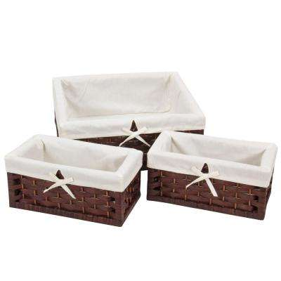 Paper Rope Lined Utility Brown Basket Set (Set of 3)
