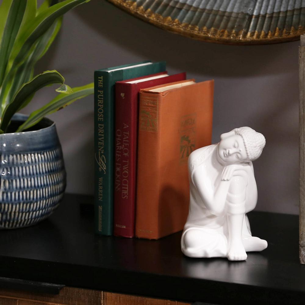 6.75 in. H Buddha Decorative Figurine in White Gloss Finish