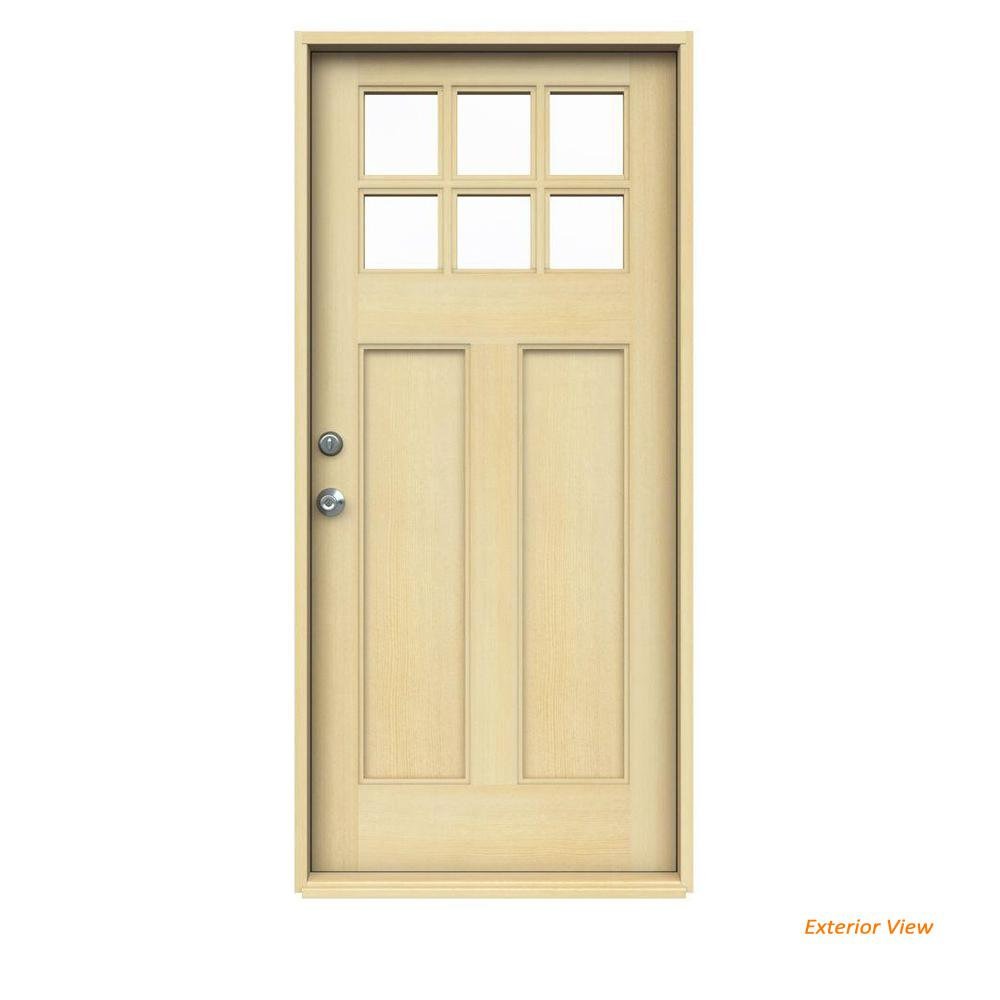 36 in. x 80 in. Craftsman 6-Lite Unfinished Hemlock Prehung Front