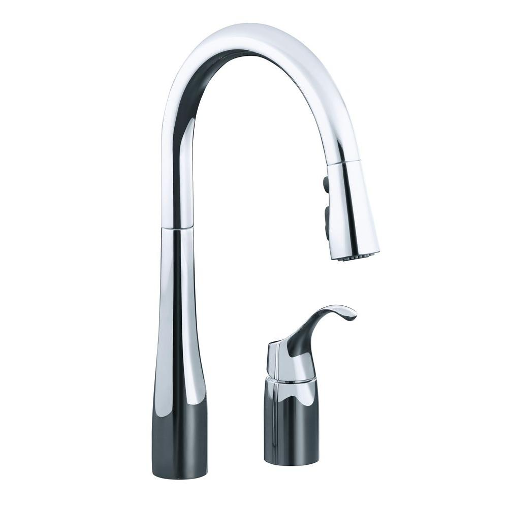 kohler simplice kitchen faucet pull down kohler simplice singlehandle pulldown sprayer kitchen faucet in polished chrome