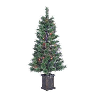 3.5 ft. Pre-Lit Fiber Optic Cashmere Artificial Christmas Tree with Multi-Colored Lights in a Plastic Pot