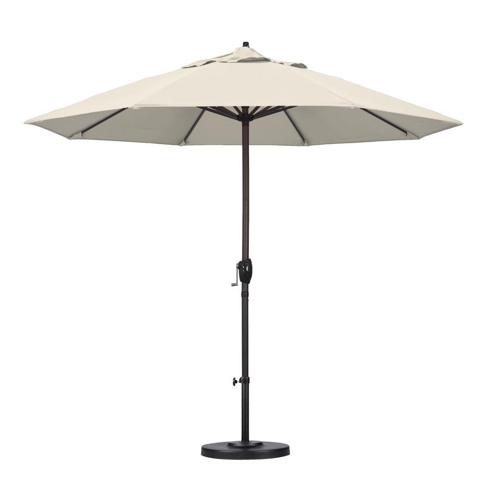 California Umbrella 9 ft. Aluminum Auto Tilt Patio Umbrella in Antique Beige Olefin