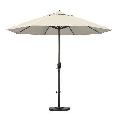 9 ft. Aluminum Auto Tilt Patio Umbrella in Antique Beige Olefin