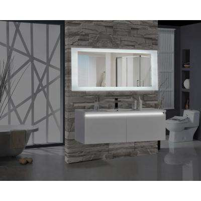 brushed nickel bathroom mirror. H Rectangular LED Illuminated Bathroom Mirror Mirrors  Bath The Home Depot