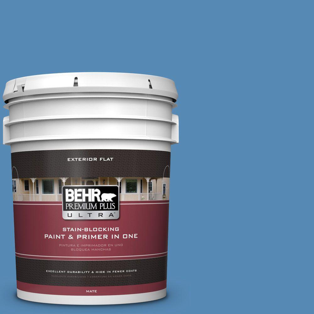 BEHR Premium Plus Ultra 5-gal. #M520-5 Alpha Blue Flat Exterior Paint