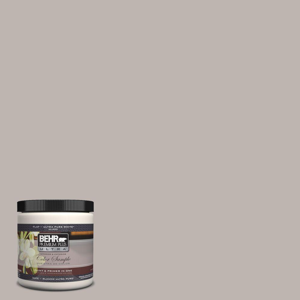 BEHR Premium Plus Ultra 8 oz. #UL260-10 Graceful Gray Matte Interior/Exterior Paint and Primer in One Sample
