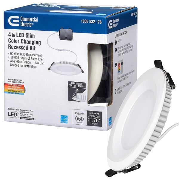 Commercial Electric Ultra Slim 4 In Selectable Cct Canless Color Integrated Led Recessed Light Trim Downlight 650 Lumens Dimmable 53808101 The Home Depot